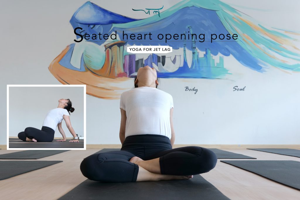 Yoga Instructor Demonstrating Yoga Poses For Jet Lag. Jet Lag Remedies Seated Heart Opening Pose