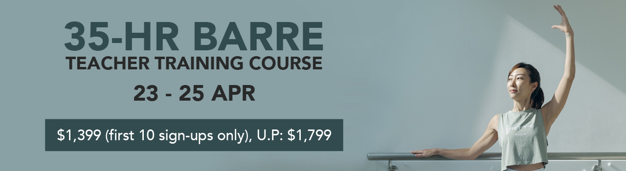 Join our upcoming 35-hour Barre Teacher Training Course here.